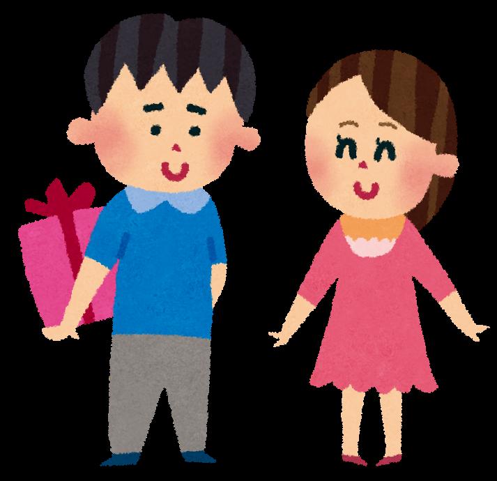 女性にプレゼントをする男性