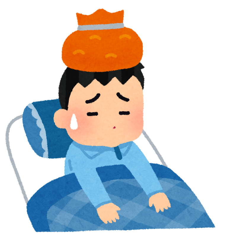 氷枕をする男性