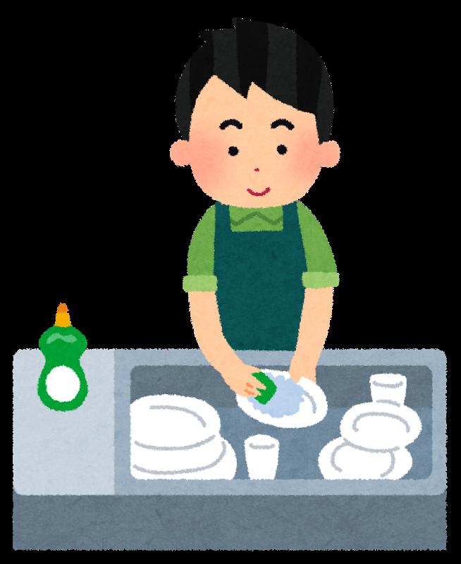 皿を洗う男性