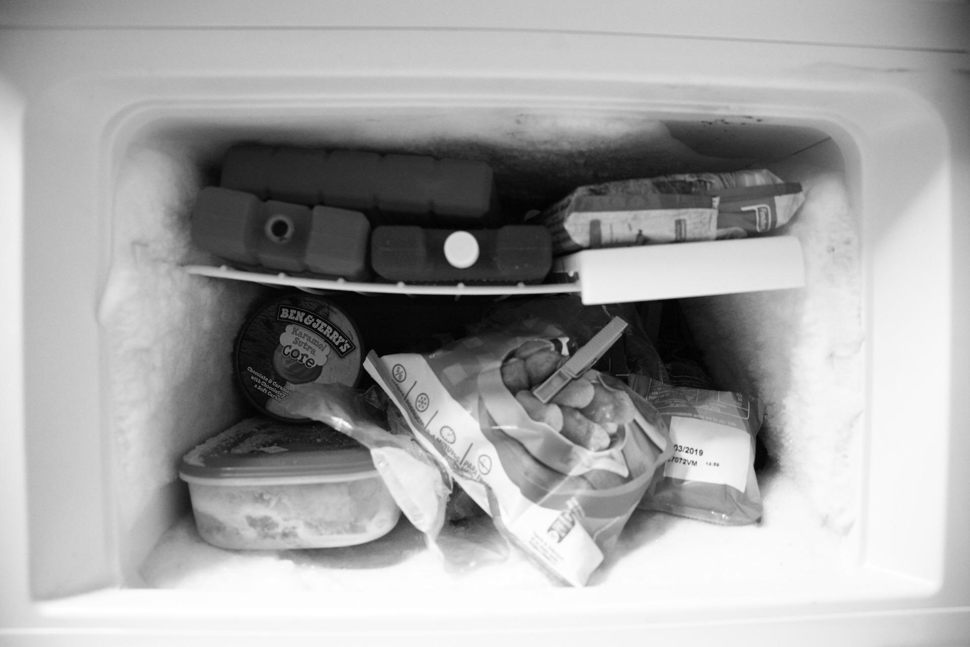 霜が付いた冷凍庫