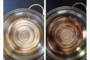 何度も強く擦ってもダメだった頑固な鍋の焦げ付きがピカピカに!